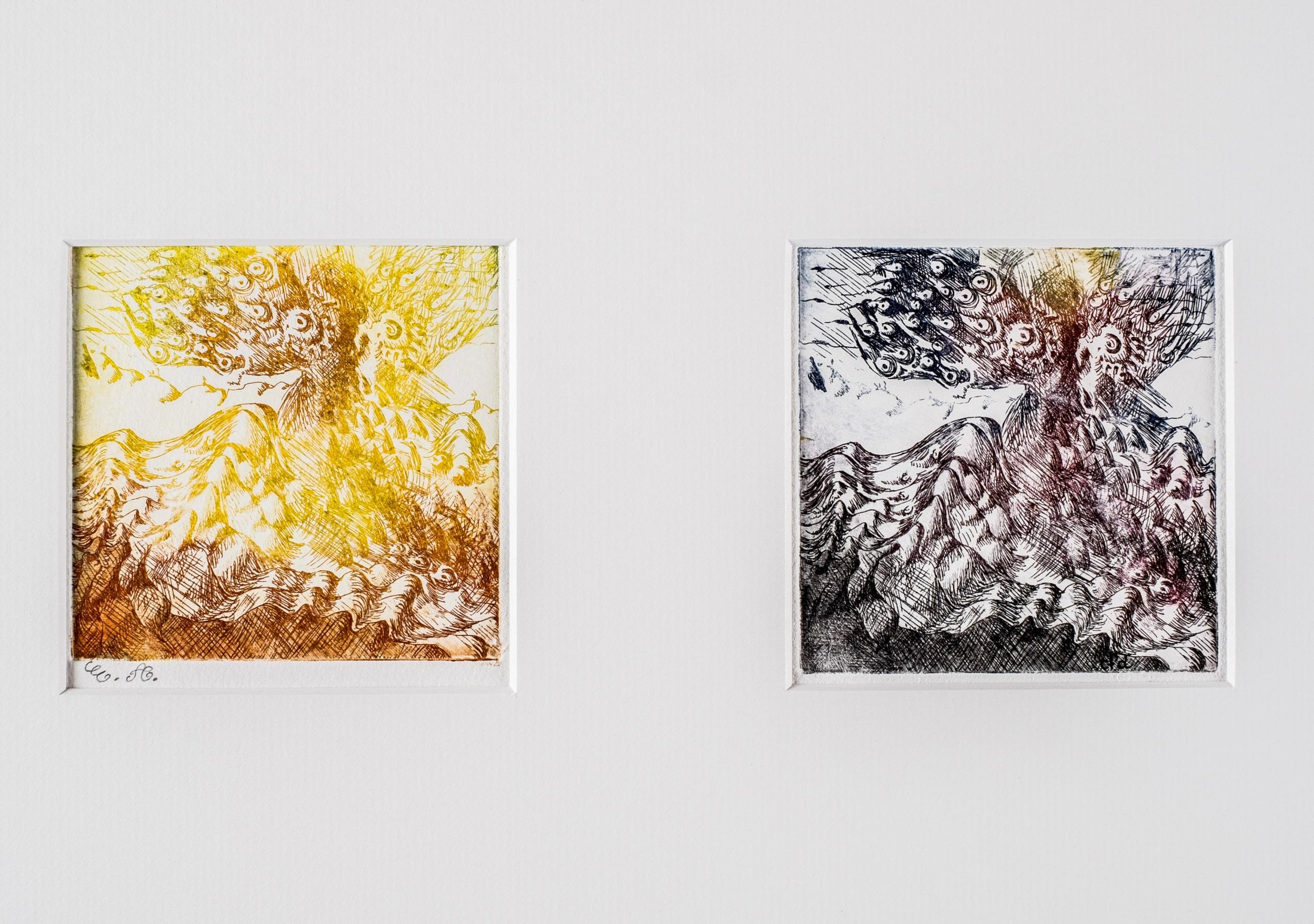 deux paysages imaginaires côte à côte en jaune et en disparition des couleurs