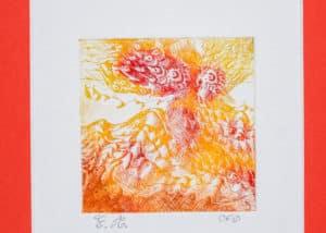 paysage imaginé flambant en rouge et jaune